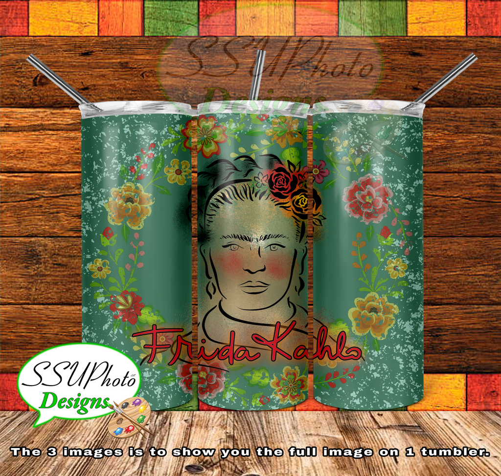 Frida Kahlo 20 OZ Skinny TumblerD Digital Design
