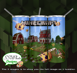 Minecraft Farm 20 oz and 30oz OZ Skinny TumblerD Digital Design