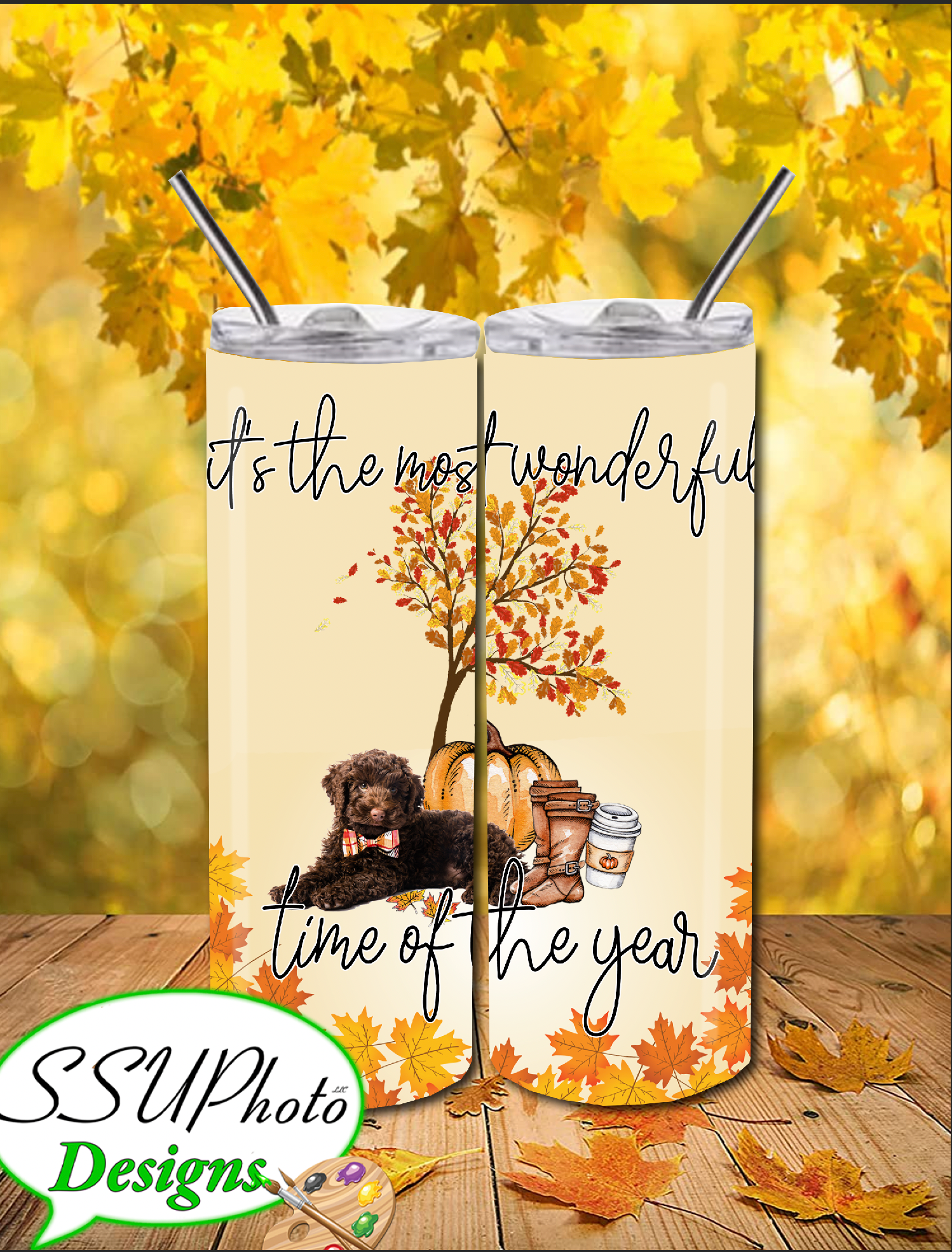 Most wonderful time of year Fall with a Doodle Tumbler