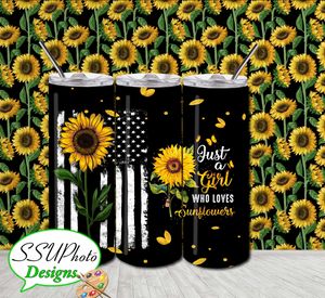 Girl Sunflowers USA Filter  20 OZ Skinny TumblerD Digital Design