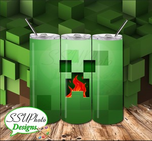 Creeper Minecraft 20 OZ Skinny Tumbler straight  Digital Design