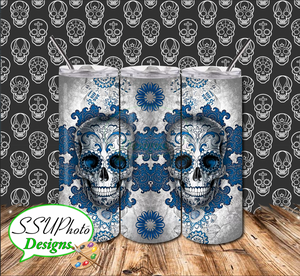 Blue sugar skull  20 OZ Skinny Tumbler Straight