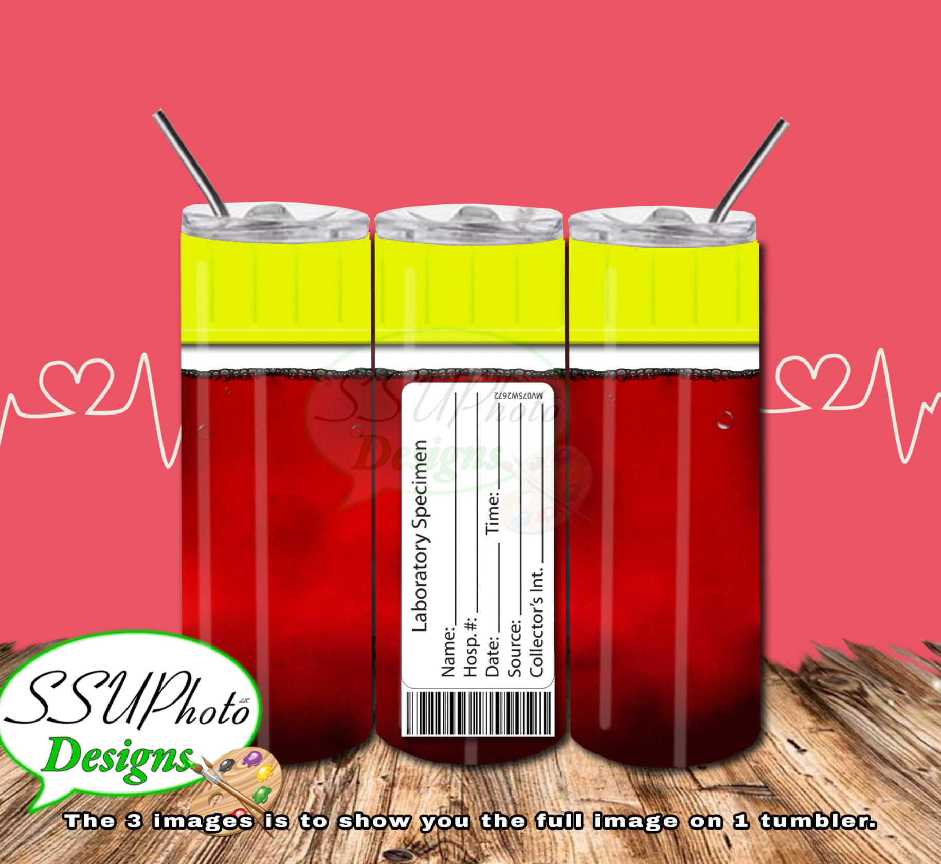 Blood Vials SET Digital Design 20 OZ Skinny Tumbler