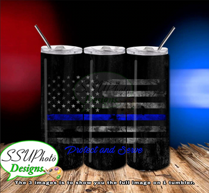 Thin Blue Line 20 OZ Skinny TumblerD Digital Design