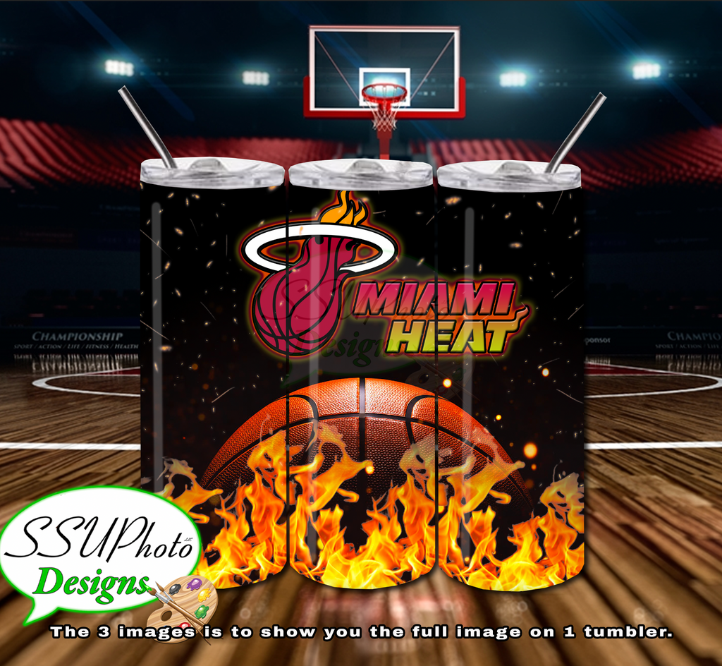 Miami Heat 20 OZ Skinny TumblerD Digital Design