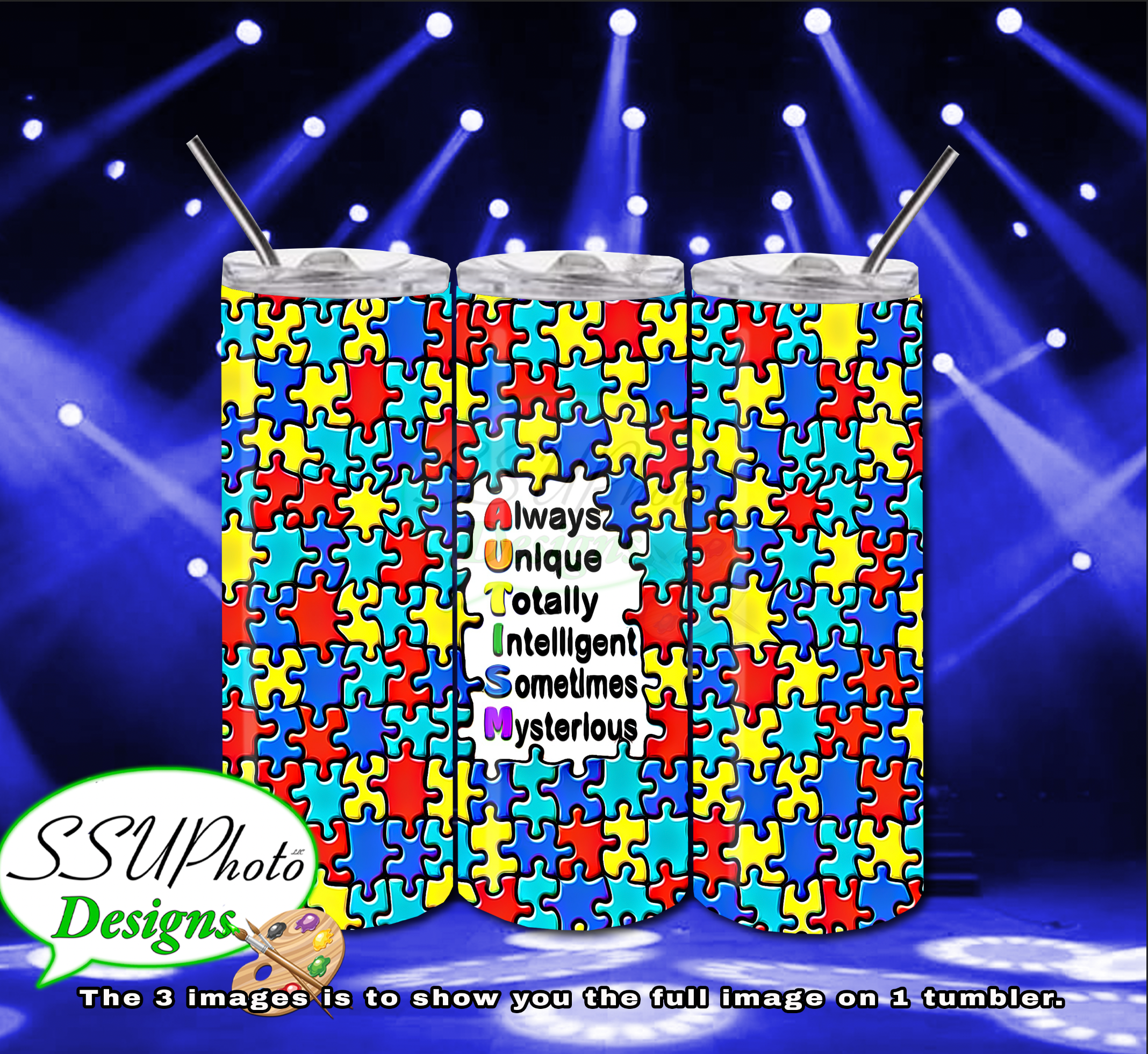 Autism 2 20 OZ Skinny TumblerD Digital Design