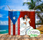 Puerto Rico Girl  20 OZ Skinny TumblerD Digital Design