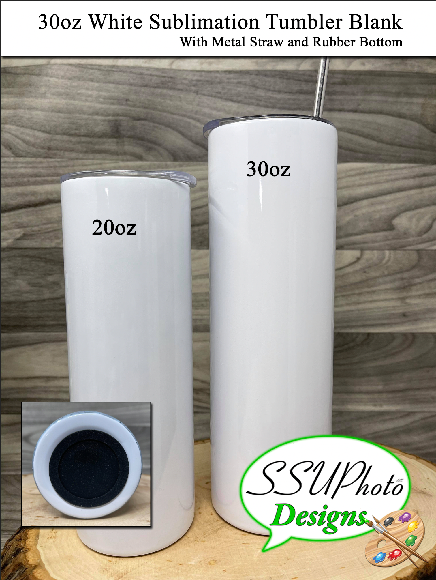 30oz Straight Sublimation WhiteTumblers