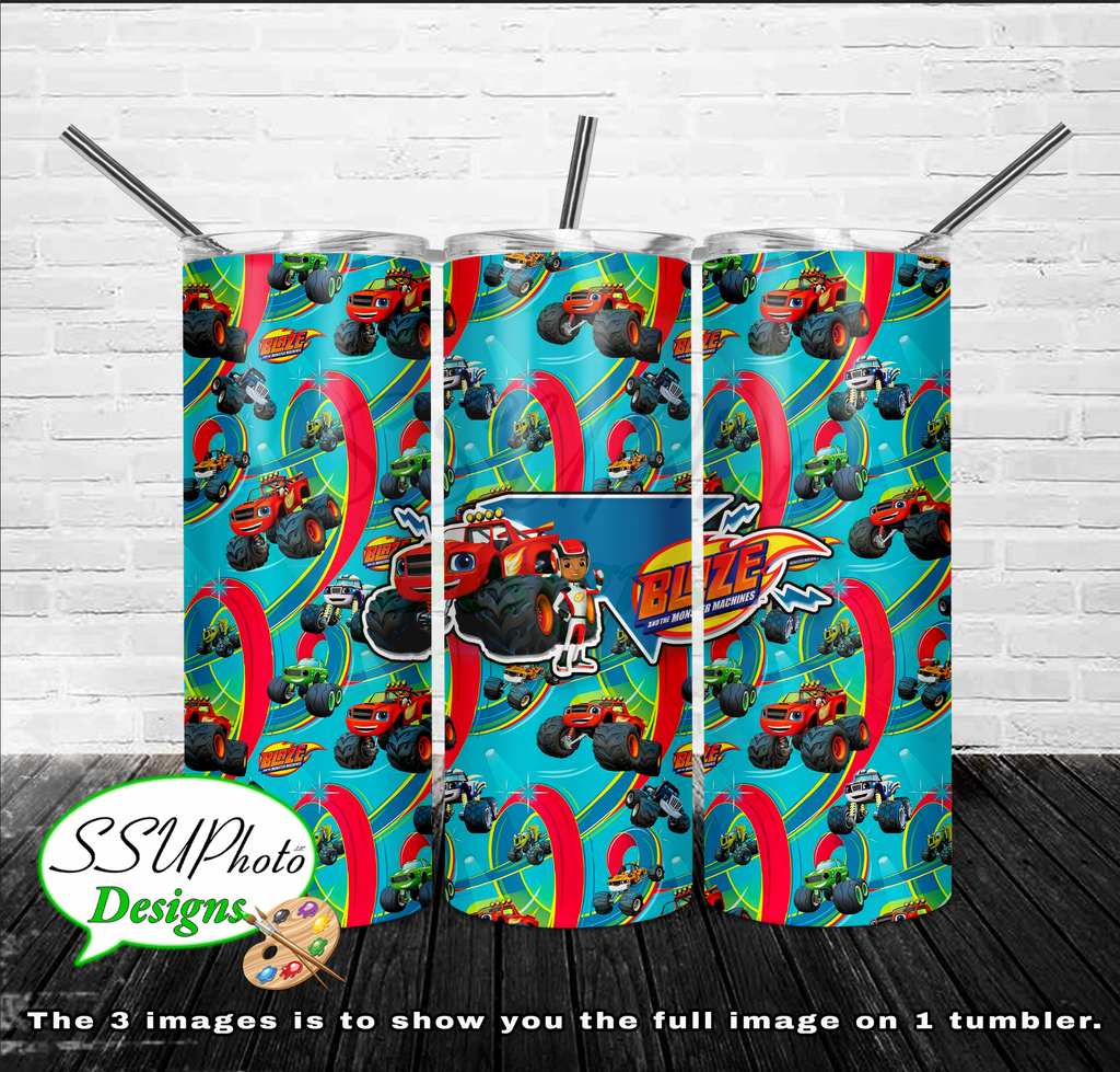 Blaze Monster truck 20 OZ Skinny TumblerD Digital Design