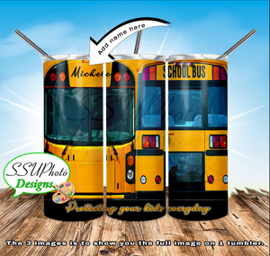 School Bus add Name 20 OZ Skinny TumblerD Digital Design