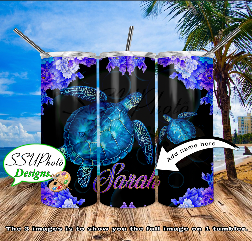 Sea Turtle Personalized 20 OZ Skinny TumblerD Digital Design