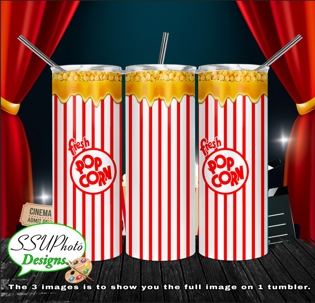 Popcorn 20 oz and 30oz OZ Skinny TumblerD Digital Design