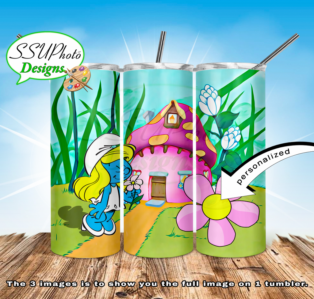 Smurfette 20 oz and 30oz OZ Skinny TumblerD Digital Design