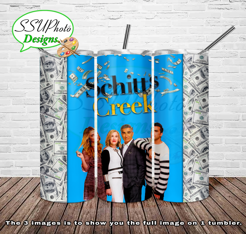 Schitts Creek money 20 oz and 30oz OZ Skinny TumblerD Digital Design