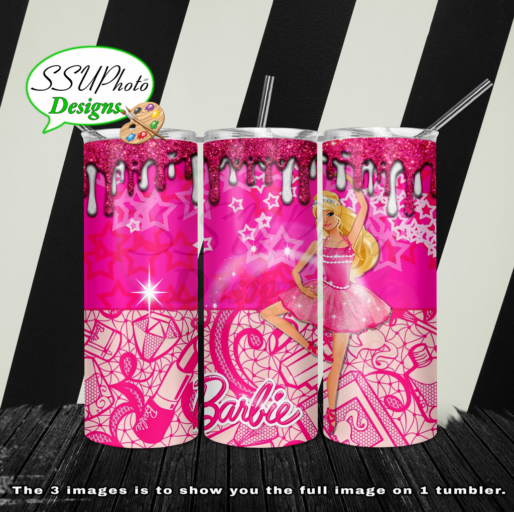Barbie Pink 20 oz and 30oz OZ Skinny TumblerD Digital Design