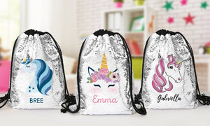 Drawstring personalized photo sequin bags