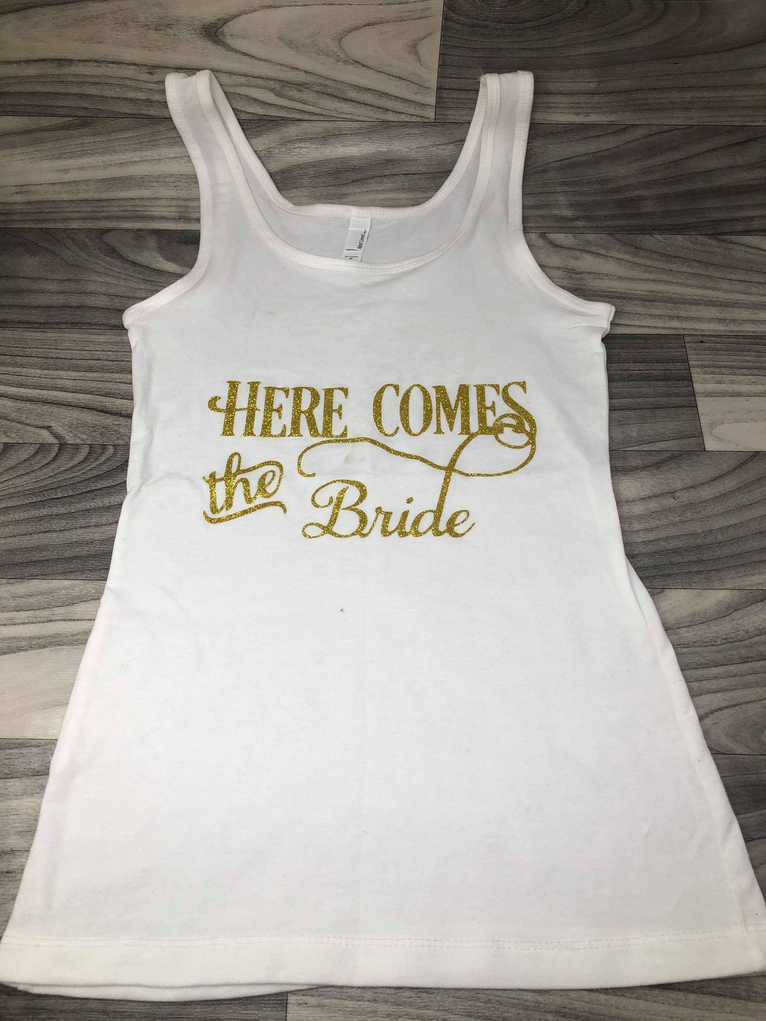 Here Comes the Bride Gold Medium White Tank Clearance