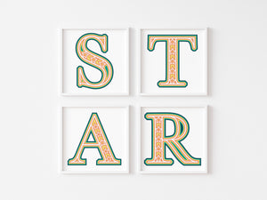 Star Layered Alphabet One Time Only