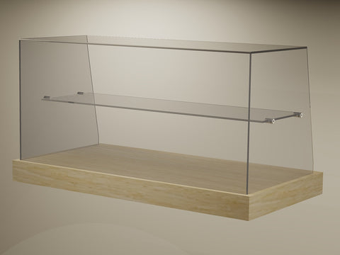 FP02SQS Ambient Square Glass Counter-Top Cake Display with Mid-Shelf (by FIKA)