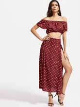Load image into Gallery viewer, Polka Dot Ruffle Crop Top With Split Skirt