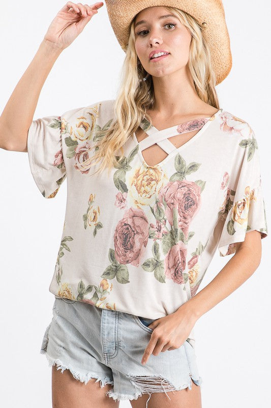 Floral Ivory Ruffle Sleeve Top