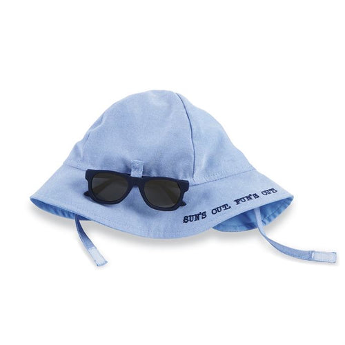 Blue sun hat with glasses set
