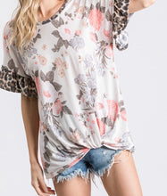 Load image into Gallery viewer, Floral Top with Leopard Ruffle
