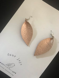 Leather Leaf Earring