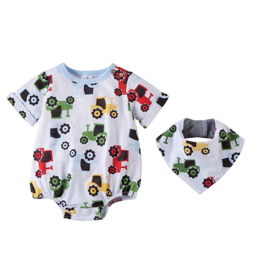Tractor Romper and Bib set