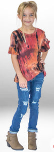 Girls Tie Dye Ruffle Sleeve