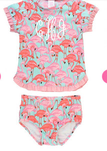 RuffleButts Flamingo Rash Guard