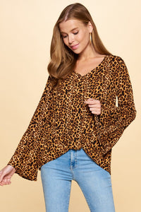 Leopard Bell Sleeved Blouse