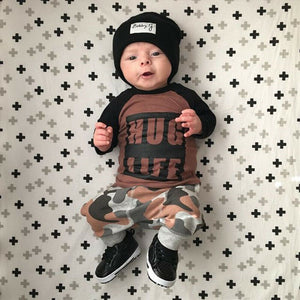 newborn boy clothing set two pieces suit long sleeve hug life top and pant baby boy set clothes
