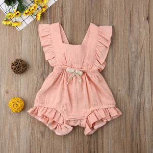 Pudcoco Newborn Infant Baby Girl Clothes Ruffle Solid Romper Sleeveless Jumpsuit Outfit Cotton Clothes Sunsuit 0-24M
