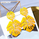 New Korean Acrylic Earrings For Women Statement Vintage Geometric Gold Dangle Drop Earrings 2019 Female Wedding Fashion Jewelry - Product upscale