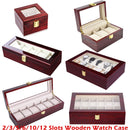 Luxury Wooden Watch Box Watch Holder Box For Watches Men Glass Top Jewelry Organizer Box 2 3 5 12 Grids Watch Organizer New D40 - Product upscale