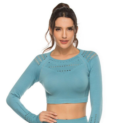 Flawless knit seamless yoga top fitness long sleeve women shirts workout gym crop top breathable sport shirt women Drop Shipping - Product upscale