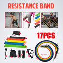 17 Pcs/Set Latex Resistance Bands Crossfit Training Exercise Yoga Tubes Pull Rope,Rubber Expander Elastic Bands Fitness with Bag - Product upscale