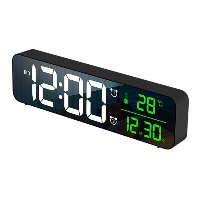 LED Digital Alarm Clock Watch For Bedrooms Table Digital Snooze Electronic USB Desktop Mirror Clocks Home Table Decoration - Product upscale