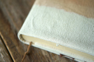 Close up of the Canvas Book Jacket - Xiapism Natural Dye