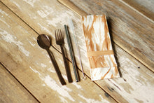 Load image into Gallery viewer, Cutlery Set with rose gold stainless steel cutlery set and a SS304 eco straw- Xiapism Natural Dye