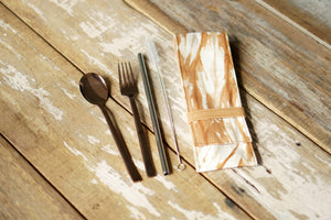 Cutlery Set with rose gold stainless steel cutlery set and a SS304 eco straw- Xiapism Natural Dye