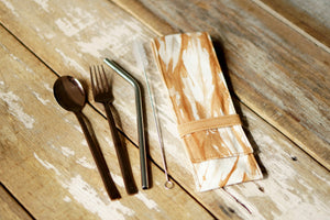 Grunge Cutlery Set with bend SS304 eco straw- Xiapism Natural Dye