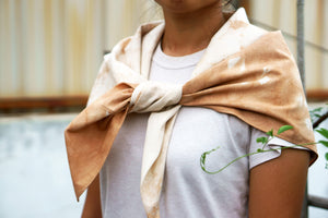 Furoshiki Wrapping Cloth as a scarf - Xiapism Natural Dye