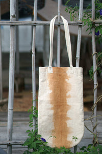 Long Rounded Canvas Tote by Xiapism Natural Dye