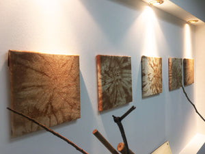 Side view of the natural dye wall art.