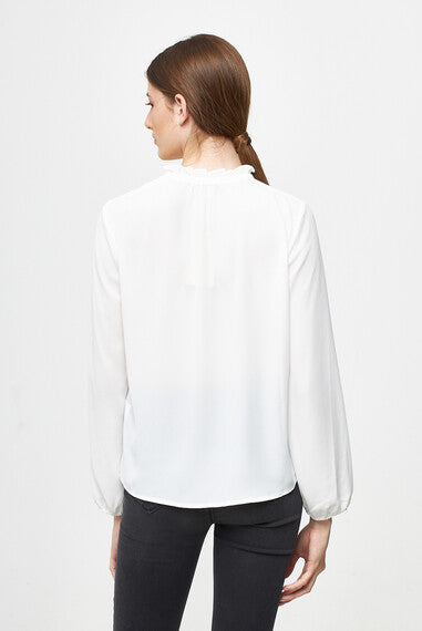 BLOUSE WITH KNOTTED NECK - OFFWHITE