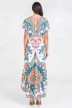Load image into Gallery viewer, PRINTED WOVEN HI-LO DRESS - IVORY/BLUE