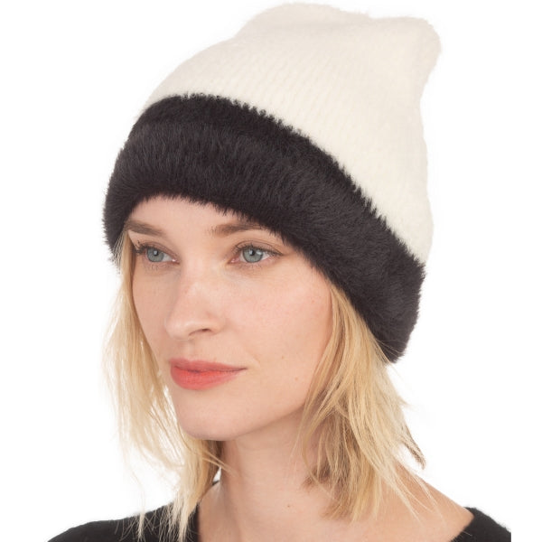Soft two tone beanie - ivory