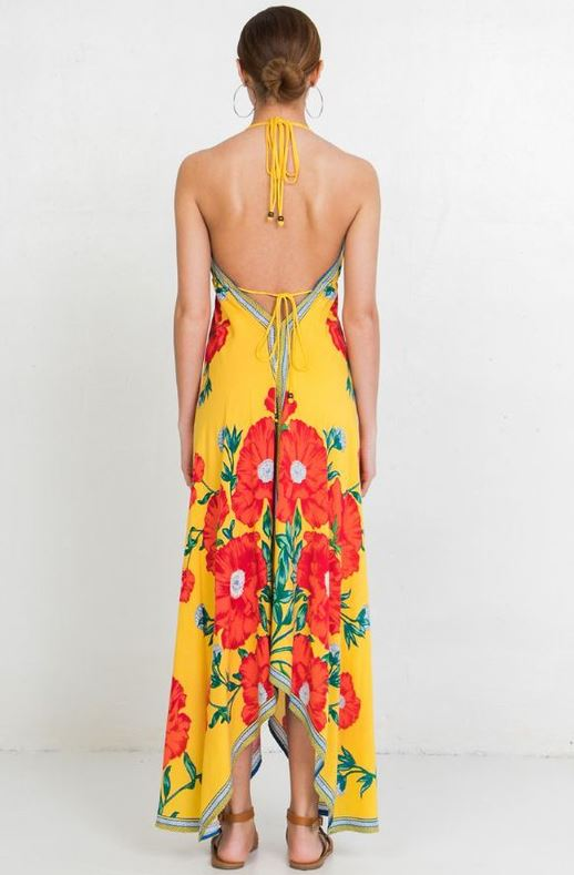 FLORAL MAXI DRESS - YELLOW